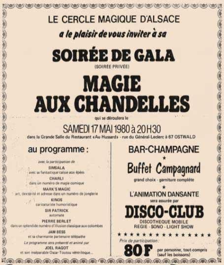 """Affiche du Dîner spectacle """"La MAGIE AUX CHANDELLES"""" le 17 Mai 1980"""