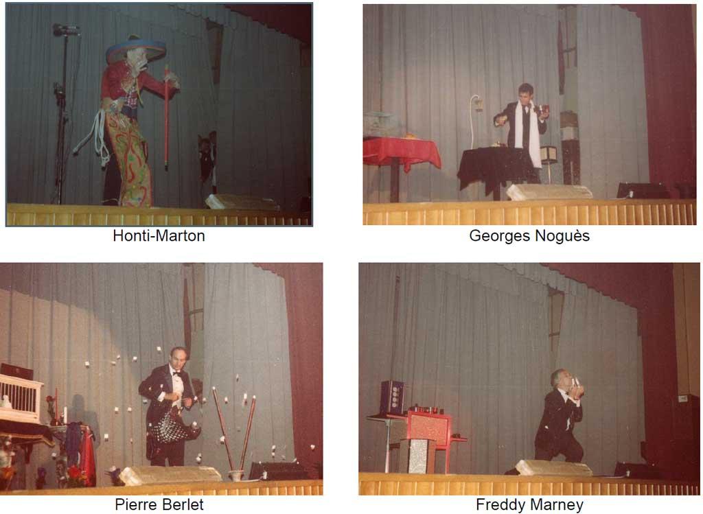 Artistes sur la scène de MAGIE EN FETE 1982 Cercle Magique Alsace. Honti-Marton, Georges Noguès, Pierre Berlet et Freddy Marney