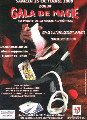 Affiche du gala de magie organisé par le Cercle Magique d'Alsace le 25 octobre 2008 au profit de la magie à l'hôpital