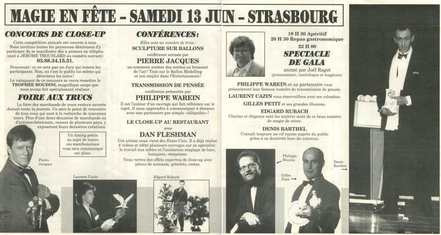 CMA - Dépliant publicitaire Magie-en-fête 1998 - Verso avec le programme détaillé