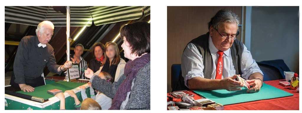 A gauche l'on voit Jam' Bess en pleine démonstration de close-up dans le hall d'accueil de la MAC à Bischwiller. A droite, c'est Jean-Pierre Hornecker en train de montrer un tour de cartes.
