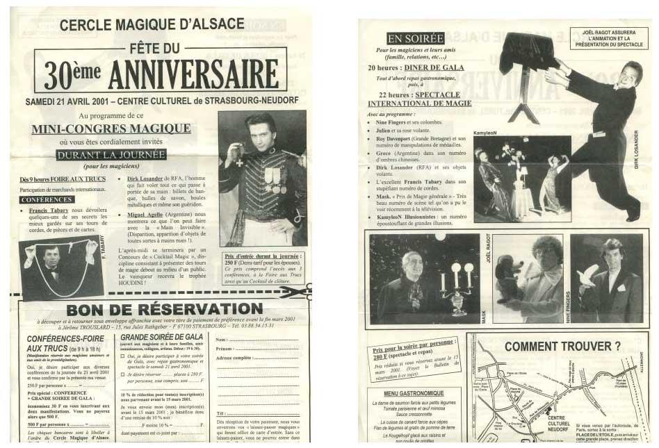 Invitations éditée à l'occasion du 30eme anniversaire du Cercle Magique d'Alsace-2001