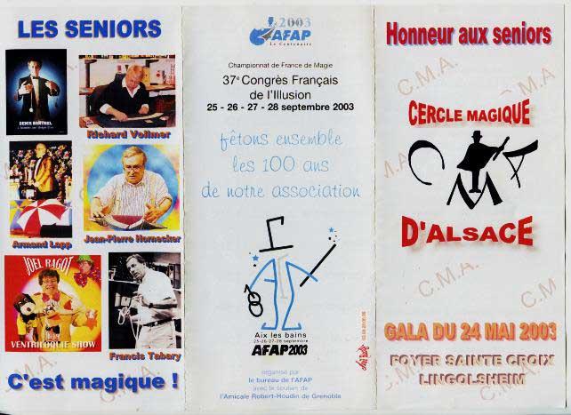 """Plaquette du gala """"Honneur aux seniors"""" organisé au Cercle Magique d'Alsace le 24 mai 2003"""